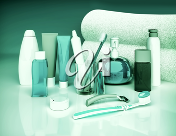 Set for morning hygiene. Toothpaste, brush, soap, balm, tooth thread.