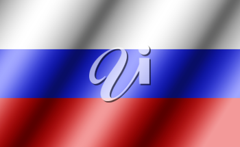 Russia flag, three dimensional render, satin texture