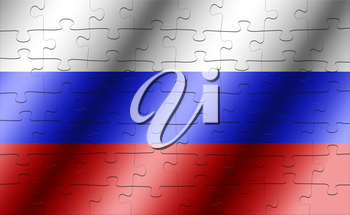 Russia flag jigsaw. puzzle concept