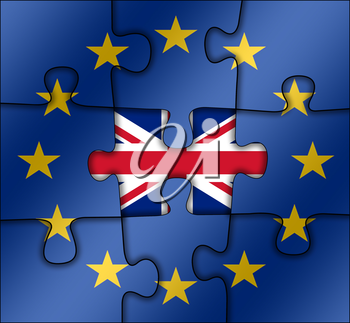puzzle with the national flag of great britain and european union. brexit concept