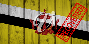 flag of Brunei that survived or recovered from the infections of corona virus epidemic or coronavirus. Grunge flag with stamp Recovered