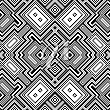 Seamless geometric retro black and white background made from simple squares.