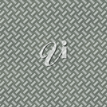 Illustration of the seamless silver metal plate with rib pattern.