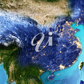China, Taiwan. Elements of this image furnished by NASA. 3D rendering