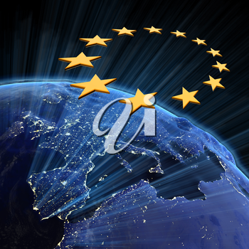 European Union city lights. Earth map from NASA 3d rendering