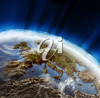 Europe 3d rendering landscape planet. Maps courtesy NASA