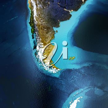 Patagonia, South America, Andes. Elements of this image furnished by NASA. 3D rendering
