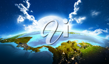 Central America. Elements of this image furnished by NASA. 3D rendering