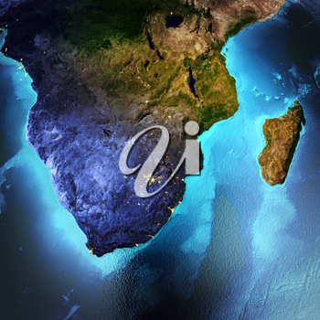 South Africa, Madagascar. Elements of this image furnished by NASA. 3D rendering