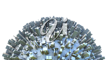 Abstract hemisphere of 3d sci-fi planet covered by simple box like skyscraper city buildings. Business or environmental concept illustration.