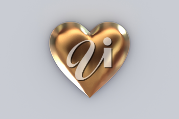 Valentine's Day abstract 3D illustration pattern with big shiny golden or gold metallic heart on gray background.