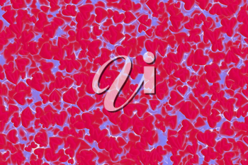 Valentine's Day abstract 3D illustration or background pattern with shiny shapes of red and blue hearts.