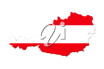 Map of Austria with national flag isolated on white background