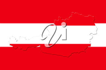 Map of Austria with national flag as background