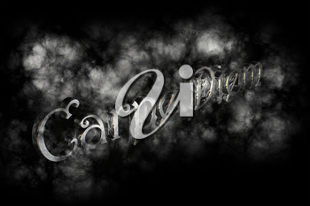 Carpe diem 3D Render- latin phrase that means Capture the moment on black background with white smoke