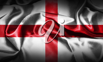 Flag of England Waving In The Wind, Grunge Looking. St George's Cross 3D illustration