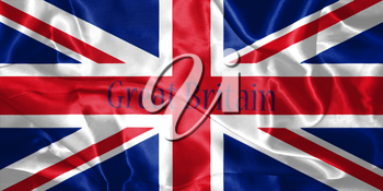 Great Britain Flag Blown in the Wind With Country Name Written On It 3D illustration