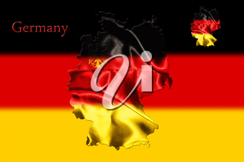 Map of Germany with national flag isolated