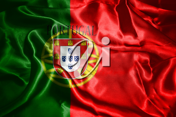 Portugal National Flag With Country Name Written On It 3D illustration