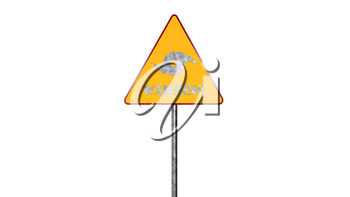 Hurricane Warning Road Sign Isolated On White Background 3D Rendering
