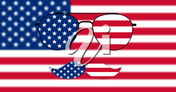 Glasses and Mustache Design of the American Flag on USA flag backround Illustration