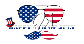 Happy 4th of July. Glasses and Mustache Design of the American Flag With Hat of Uncle Sam Illustration