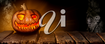 Spooky Halloween Pumpkin On a Wooden Table at Night 3D Illustration