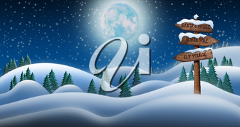Christmas Night and the Snow Fields with Directional Sign Leading To Elf Village, North Pole and Santas House