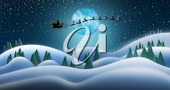 Santa Clause and Reindeers Sleighing Through Christmas Night Over the Snow Fields at North Pole