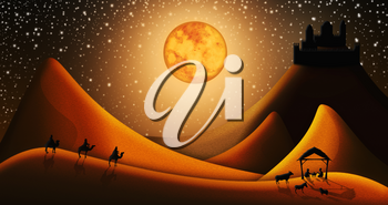 Christmas Nativity Scene Of Three Wise Men Magi Going To Meet Baby Jesus in the Manger with the City of Bethlehem in the distance Illustration