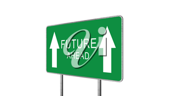 Future Green Road Sign With Direction Arrow Isolated On White Background. Business Concept 3D Rendering