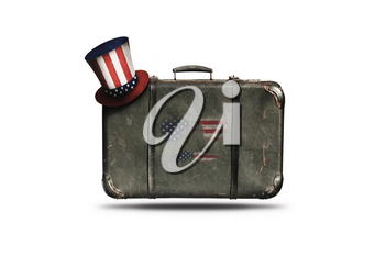 Travel Vintage Leather Suitcase With Uncle Sam's Hat and Sunglasses. Happy 4th of July Independence Day United States Of America