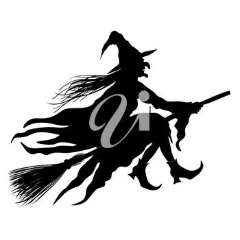 Witch Riding The Broom Isolated On White Background. Black Silhouette