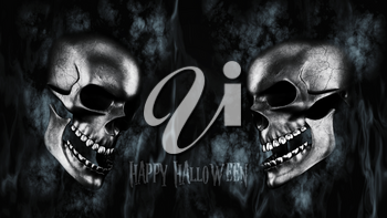 Happy Halloween. Human Skulls With Smoke And Fire 3D Rendering