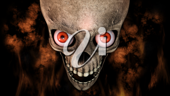 Human Skull With Eyes And Scary, Evil Look Halloween Concept 3D Rendering