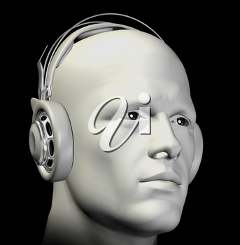 Man with headphones listening to music. 3d illustration.