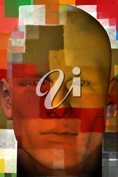 Man portrait with colorful squares abstract modern artistic pattern. 3d illustration.