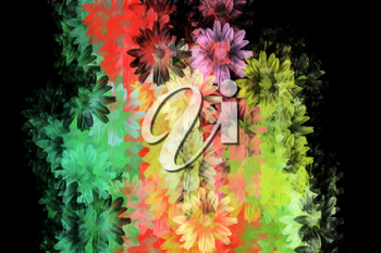 Colorful daisies grunge floral pattern. Digitally created background illustration.