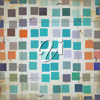 Grunge squares colorful abstract pattern on textured paper. Background illustration.